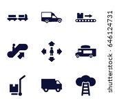moving icons set. set of 9... | Shutterstock .eps vector #646124731