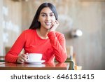 optimistic female student with... | Shutterstock . vector #646131415
