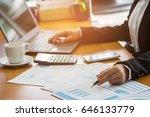 a business woman analyzing...   Shutterstock . vector #646133779
