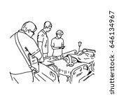people visit patient in... | Shutterstock .eps vector #646134967