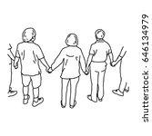 people holding hands   vector... | Shutterstock .eps vector #646134979