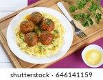 delicious italian meatballs... | Shutterstock . vector #646141159