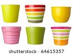 collection of   flowerpots  on... | Shutterstock . vector #64615357