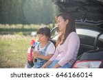 mother and little daughter... | Shutterstock . vector #646166014