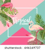 tropical flowers and flamingo... | Shutterstock .eps vector #646169737