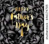 Happy Father's Day vector greeting card. Gold message on black abstract backdrop. Vinil or oil waves, Striped waves texture, wavy background. Modern template with waves looks like tangled tape - stock vector