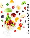 fresh mixed fruits falling on... | Shutterstock . vector #646175704