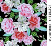seamless pattern with flowers.... | Shutterstock . vector #646181524