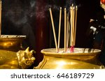 Incense Stick In A Golden Bowl