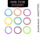 colorful round frames by crayon ... | Shutterstock .eps vector #646197391