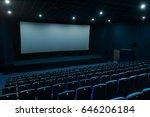 empty blue cinema with white...