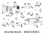 cute raccoon animal doodle hand ... | Shutterstock .eps vector #646218361