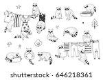 cute raccoon animal doodle hand ... | Shutterstock .eps vector #646218361