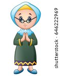 old muslim girl cartoon | Shutterstock .eps vector #646222969