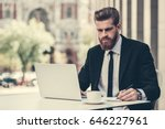 handsome bearded businessman in ... | Shutterstock . vector #646227961