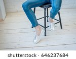 espadrilles. girl is sitting in ... | Shutterstock . vector #646237684