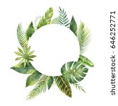 watercolor round frame tropical ... | Shutterstock . vector #646252771