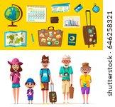happy family in travel. journey ... | Shutterstock .eps vector #646258321