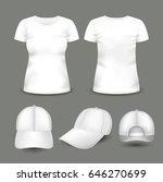 set of women's white t shirt... | Shutterstock .eps vector #646270699