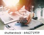 businessman hand working with... | Shutterstock . vector #646271959