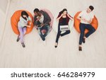 group of young friends using... | Shutterstock . vector #646284979
