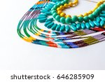 beaded necklace from colorful... | Shutterstock . vector #646285909