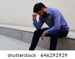 stressed and sad young man... | Shutterstock . vector #646292929