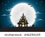 halloween night background ... | Shutterstock .eps vector #646296145