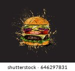 burger   fast food concept ... | Shutterstock .eps vector #646297831