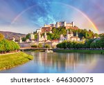 Austria Rainbow Over Salzburg Castle - Fine Art prints