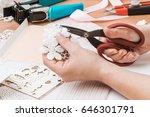 girl's hand cut paper ... | Shutterstock . vector #646301791