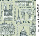 paris landmarks seamless vector ... | Shutterstock .eps vector #646307281