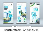 business roll up banner stand.... | Shutterstock .eps vector #646316941