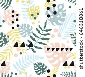 seamless pattern with tropical... | Shutterstock .eps vector #646318861