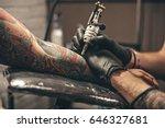 Close Up Tattoo Machine. Man...