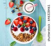 healthy breakfast in a bowl... | Shutterstock . vector #646328461