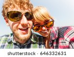 happy smiling young couple... | Shutterstock . vector #646332631