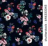 seamless floral pattern in... | Shutterstock .eps vector #646333345