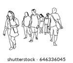 people walking marker sketch...   Shutterstock . vector #646336045