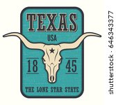 texas state tee print with... | Shutterstock .eps vector #646343377
