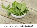 spinach in a white bowl on a...   Shutterstock . vector #646344469