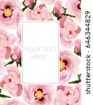 postcard with floral  peony ... | Shutterstock .eps vector #646344829