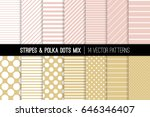 blush pink and soft gold polka... | Shutterstock .eps vector #646346407