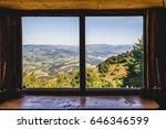 summer field and mountains seen ... | Shutterstock . vector #646346599