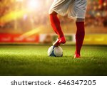 soccer player with red socks...   Shutterstock . vector #646347205