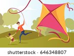 happy family father and son... | Shutterstock .eps vector #646348807