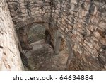 interior of very old ruined building - stock photo