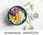 wild rice  roasted pumpkin  red ... | Shutterstock . vector #646352191