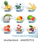 big collection of fruit in a... | Shutterstock .eps vector #646353721