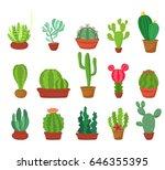 cactus cartoon flat style... | Shutterstock .eps vector #646355395